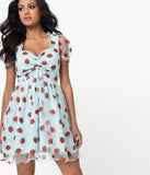 Smak Parlour Light Blue & Strawberry Print Woodstock Flare Dress