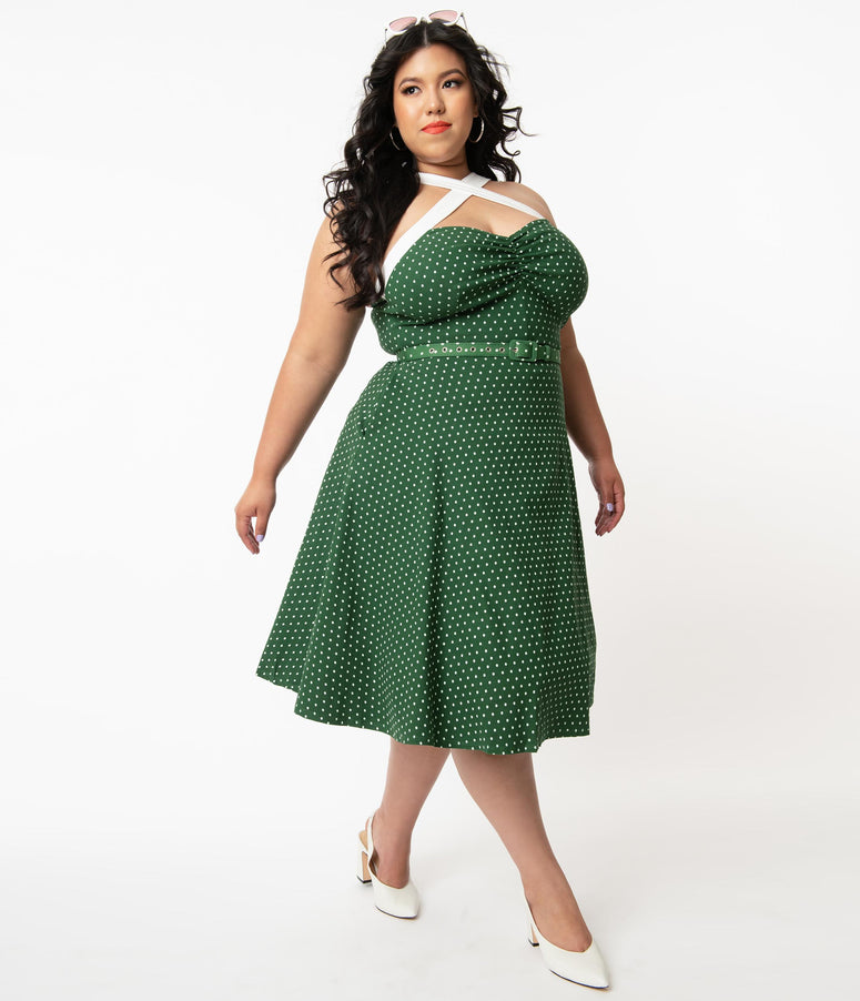 Unique Vintage Plus Size Green & White Pin Dot Rue Swing Dress