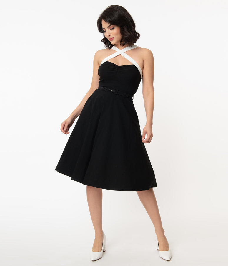 Unique Vintage Black & White Contrast Rue Swing Dress