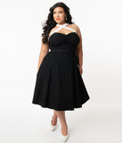 Unique Vintage Plus Size Black & White Contrast Rue Swing Dress