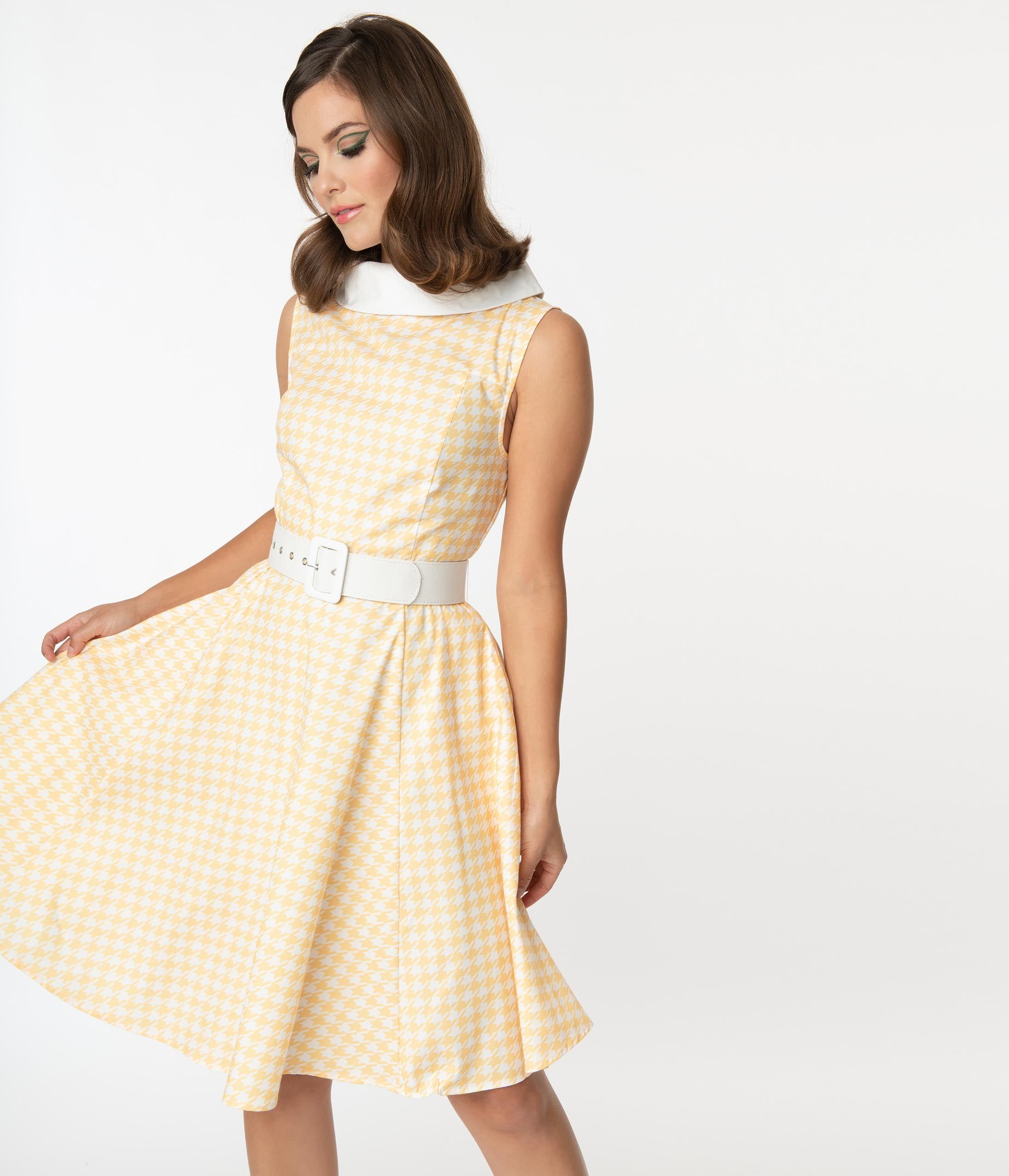 Pin Up Dresses | Pinup Clothing & Fashion Smak Parlour Yellow Houndstooth Power Pose Swing Dress $68.00 AT vintagedancer.com