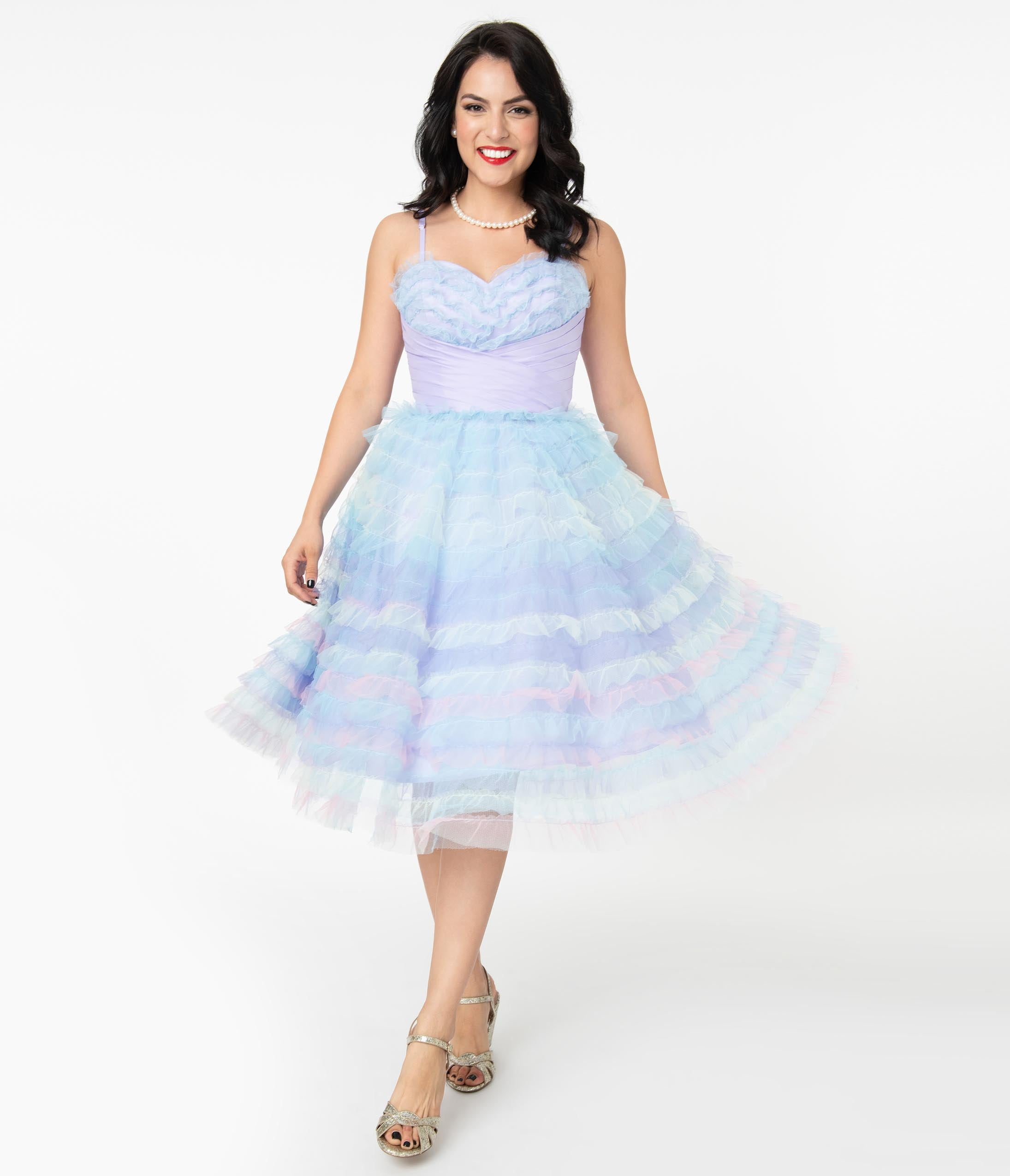 1950s History of Prom, Party, Evening and Formal Dresses Unique Vintage Pastel Ombre Tulle Cupcake Swing Dress $148.00 AT vintagedancer.com