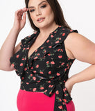 Unique Vintage Plus Size Black & Pink Floral Pin Dot Hazel Wrap Top