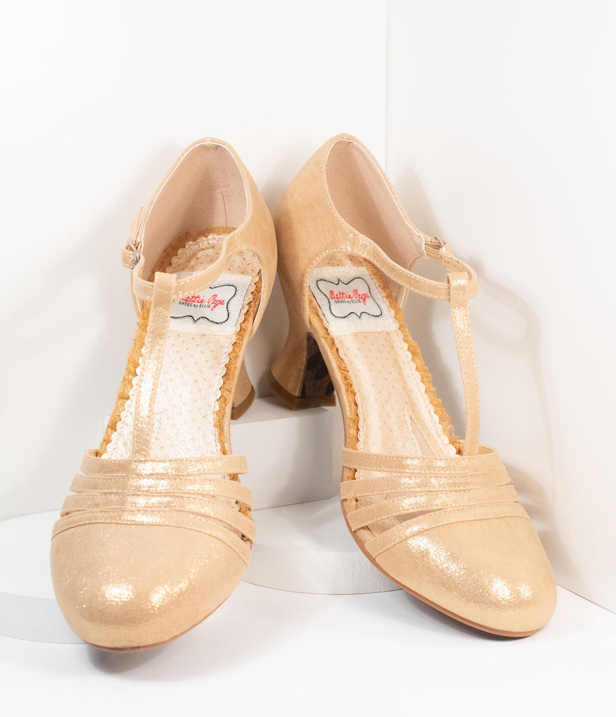 Bettie Page Metallic Gold Sammy T-Strap Heels