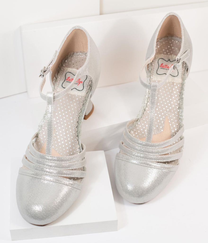 Bettie Page Metallic Silver Sammy T-Strap Heels