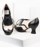 Bettie Page Black & Ivory Leatherette Patricia Oxford Heels
