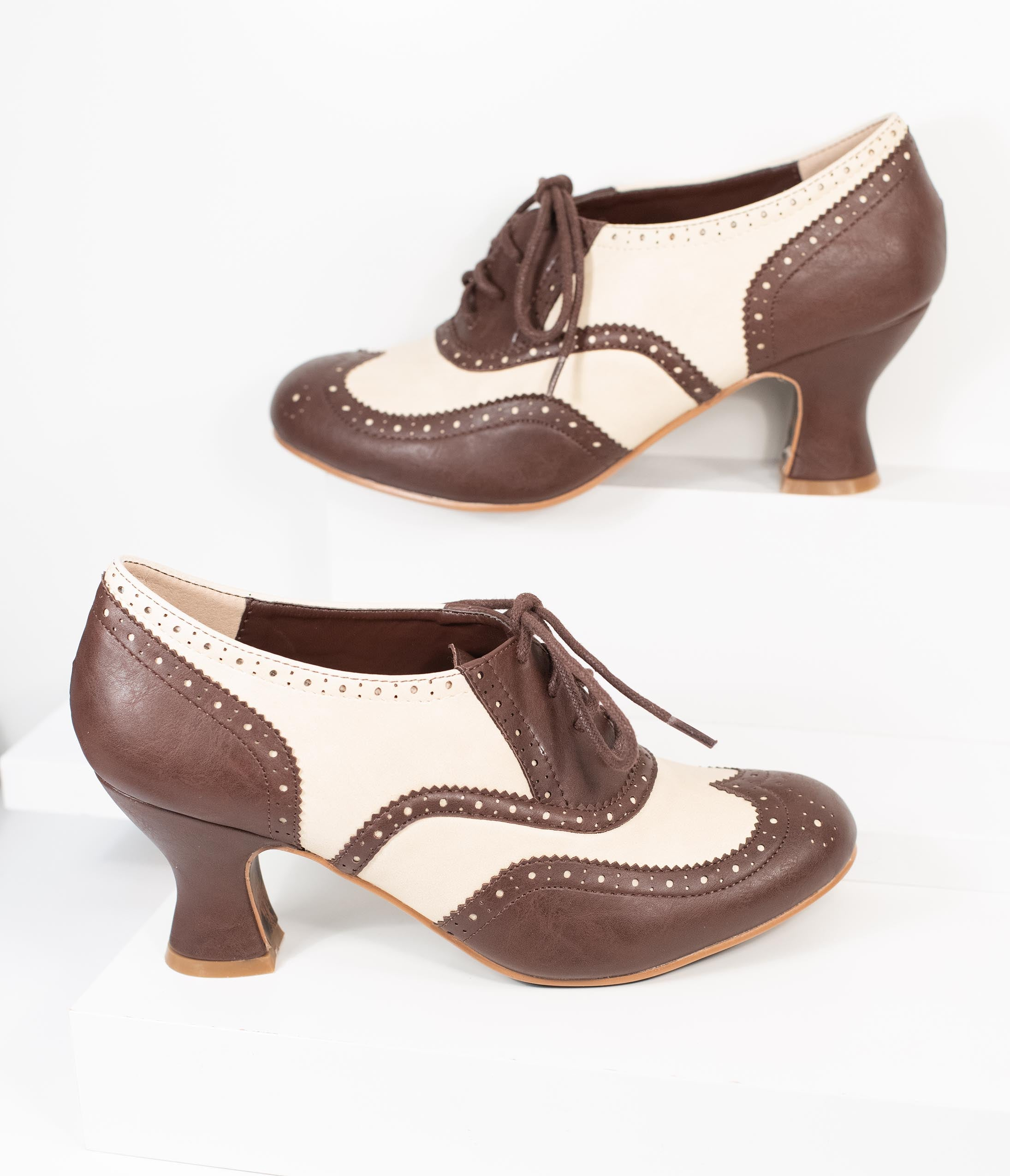 Vintage Heels, Retro Heels, Pumps, Shoes Bettie Page Brown  Ivory Leatherette Patricia Oxford Heels $82.00 AT vintagedancer.com