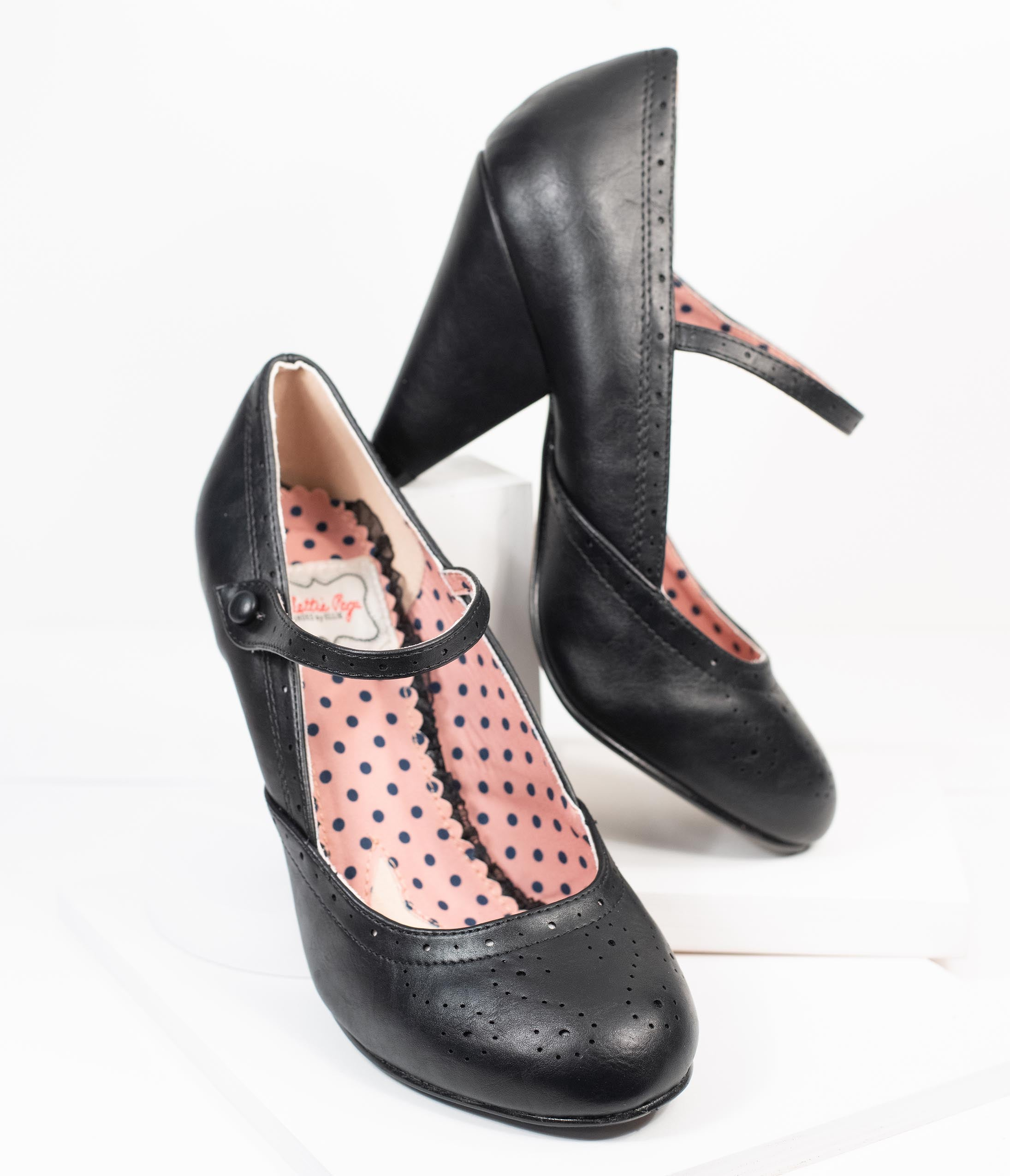 Vintage Heels, Retro Heels, Pumps, Shoes Bettie Page 1950S Black Leatherette Elanor Heels $82.00 AT vintagedancer.com