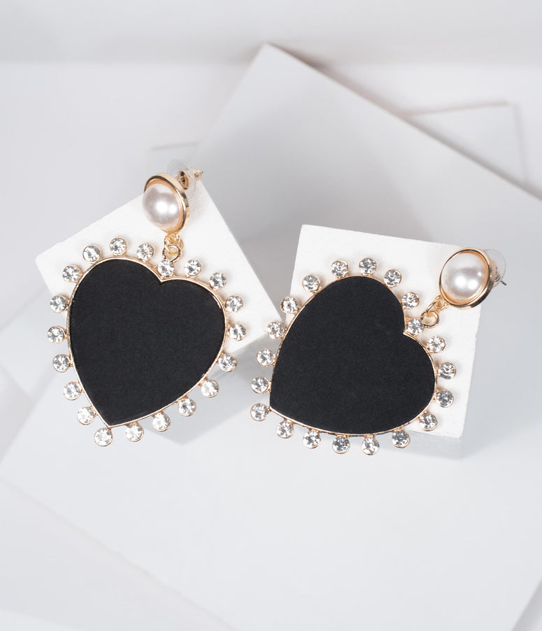 Black Matte Heart & Rhinestone Earrings