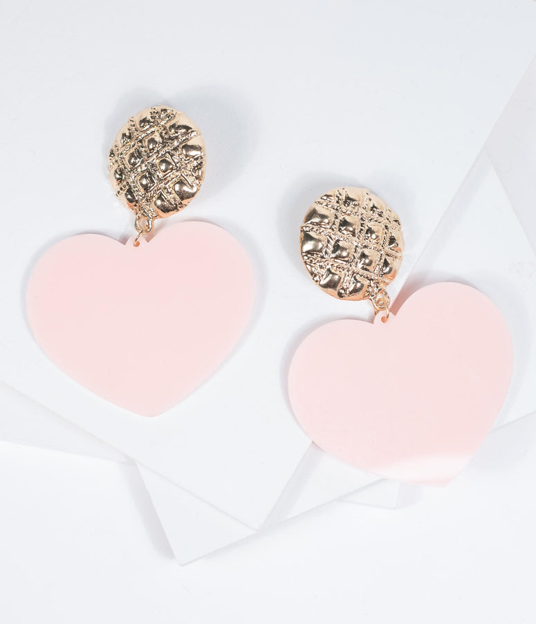 Pink Acrylic Heart Drop Earrings