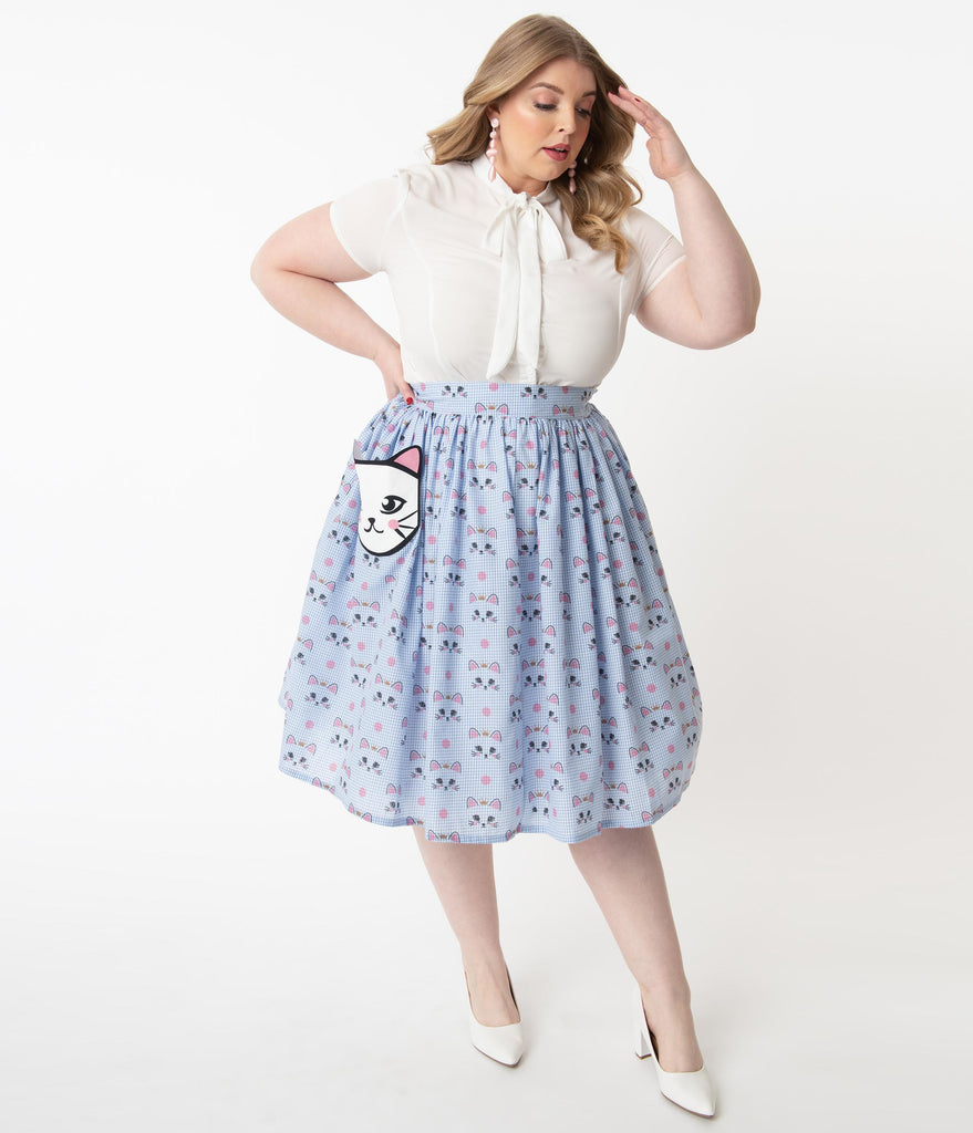 Unique Vintage Plus Size 1950s Blue Gingham & Cat Print Gellar Swing Skirt