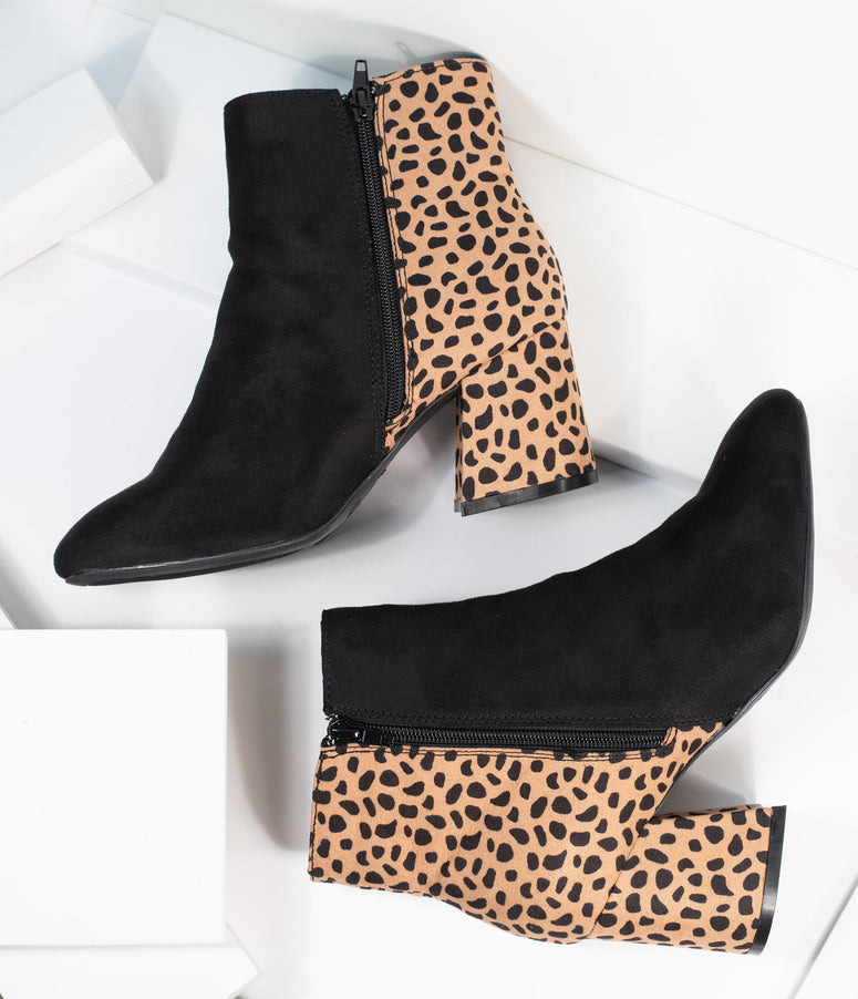 Black Suede & Cheetah Print Booties