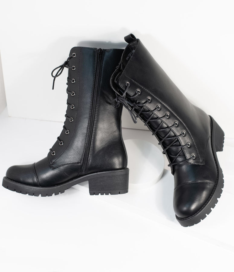 Black Leatherette Lace Up Combat Boots