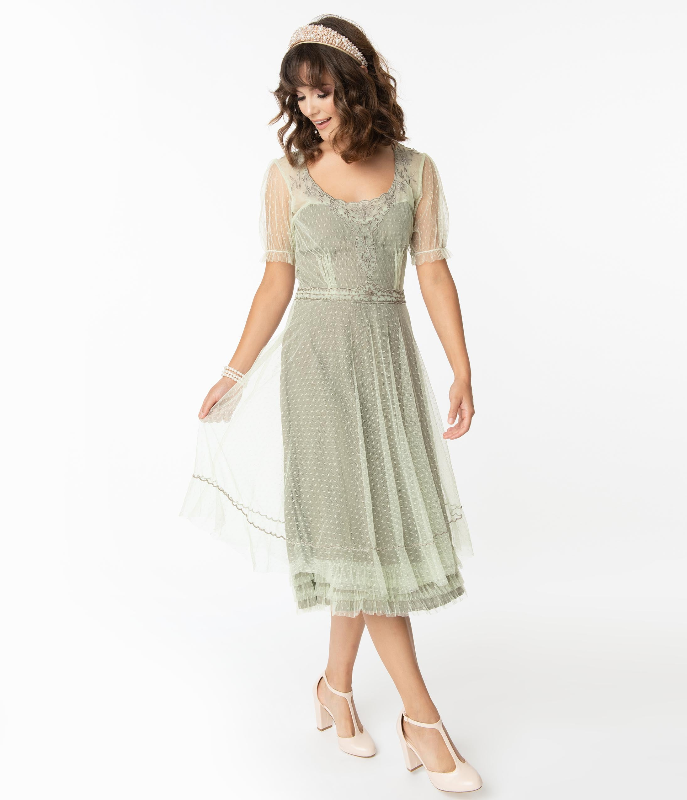 Cottagecore Dresses Aesthetic, Granny, Vintage Vintage Style Mint Swiss Dot Edwardian Flapper Dress $246.00 AT vintagedancer.com