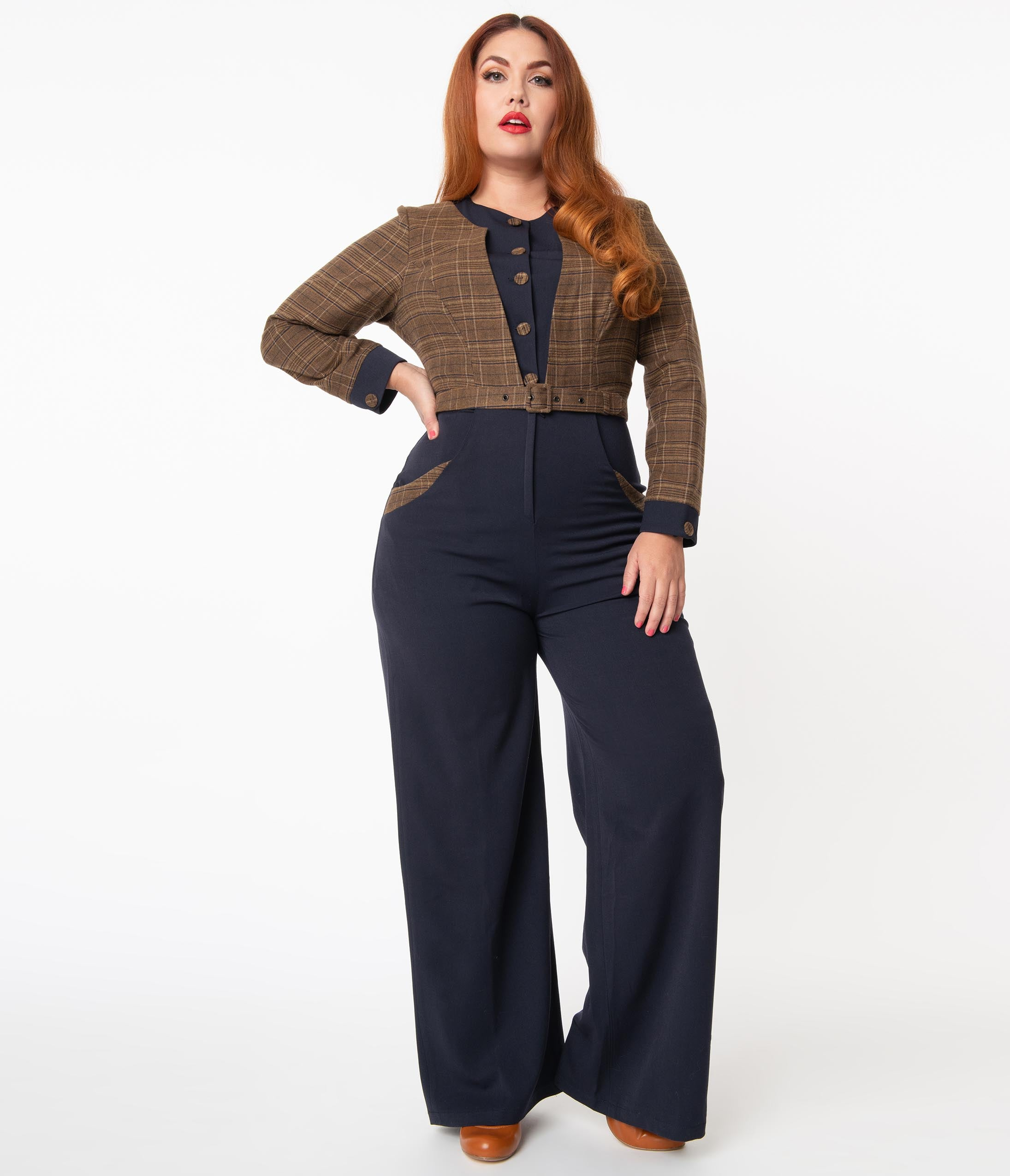 Vintage Overalls 1910s -1950s History & Shop Overalls Miss Candyfloss Plus Size Navy  Brown Plaid Melanie-Lee Jumpsuit $188.00 AT vintagedancer.com