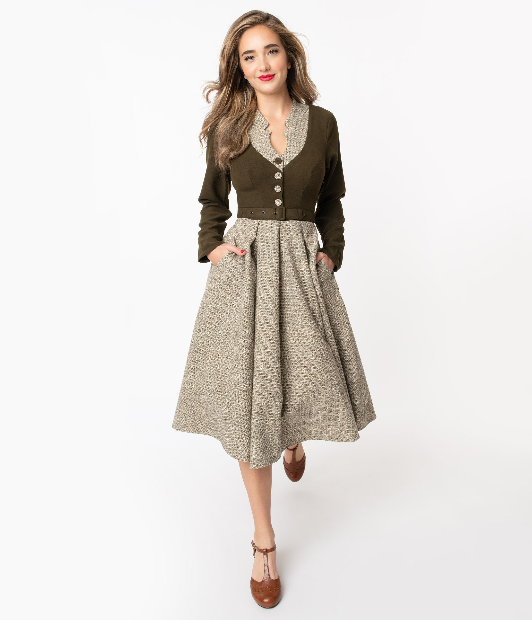 1950s Inspired Fashion: Recreate the Look Miss Candyfloss 1950S Forest Green  Sand Tamrika Swing Dress $168.00 AT vintagedancer.com