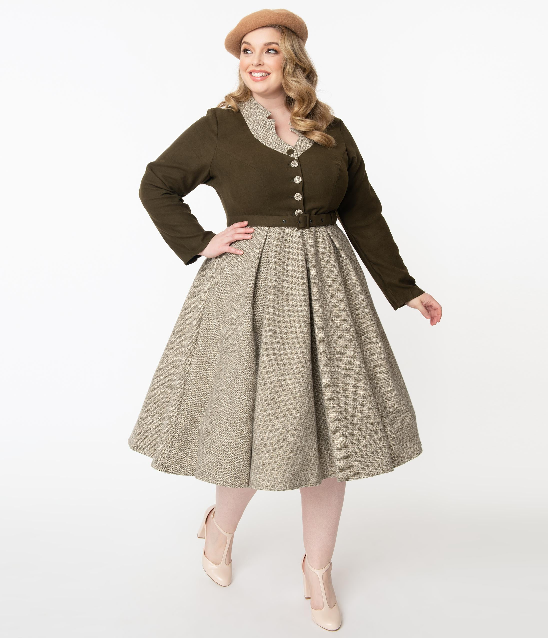 Plus Size Swing Dresses, Vintage Dresses Miss Candyfloss Plus Size 1950S Forest Green  Sand Tamrika Swing Dress $168.00 AT vintagedancer.com