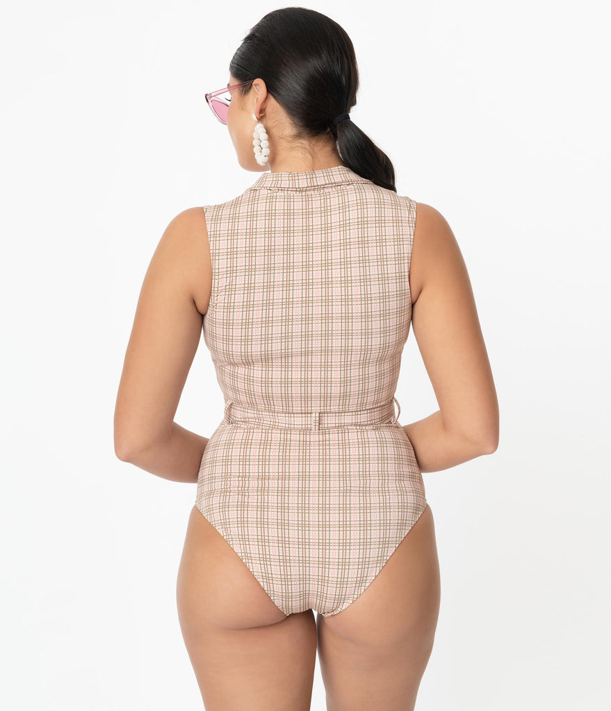 Kingdom & State 1970s Pink & Beige Plaid One Piece Swimsuit