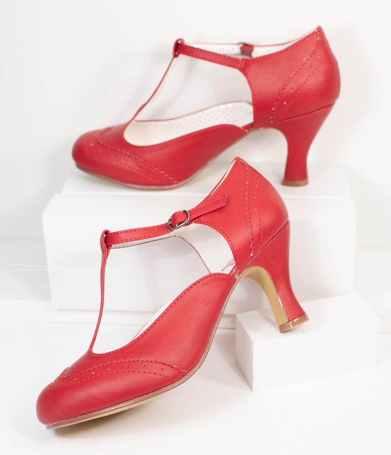 Red Leatherette T-Strap Mary Jane Heels
