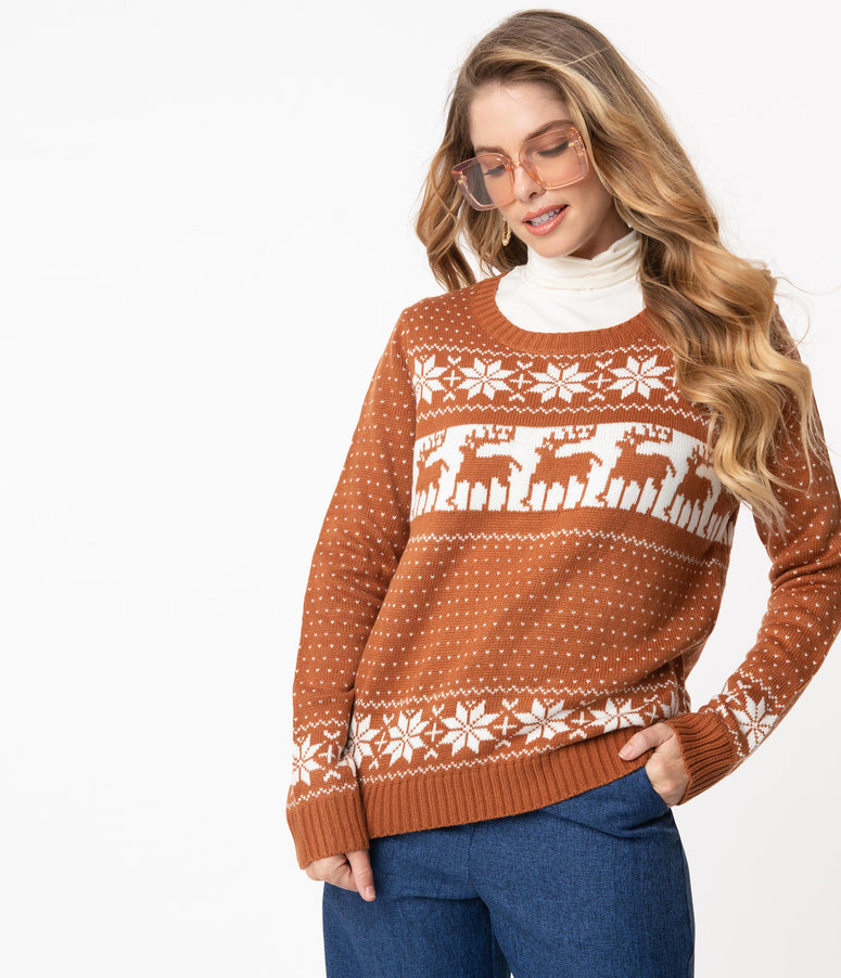 Brick & White Fair Isle Winter Sweater
