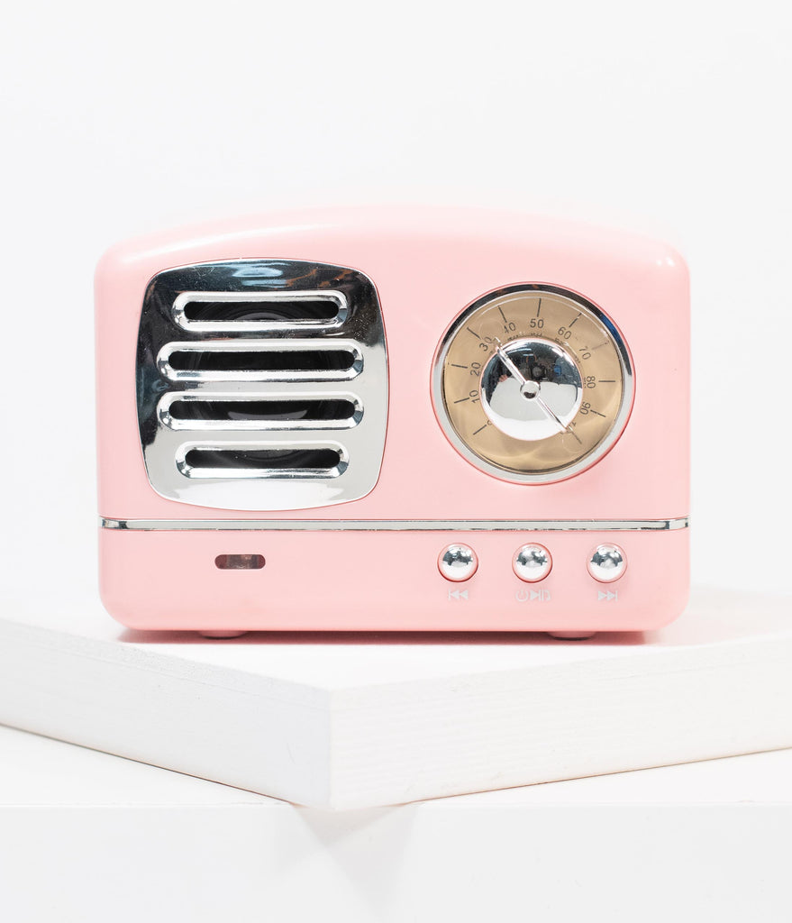 Retro Style Light Pink Bluetooth Speaker