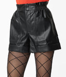 Black Vegan Leather High Waist Shorts