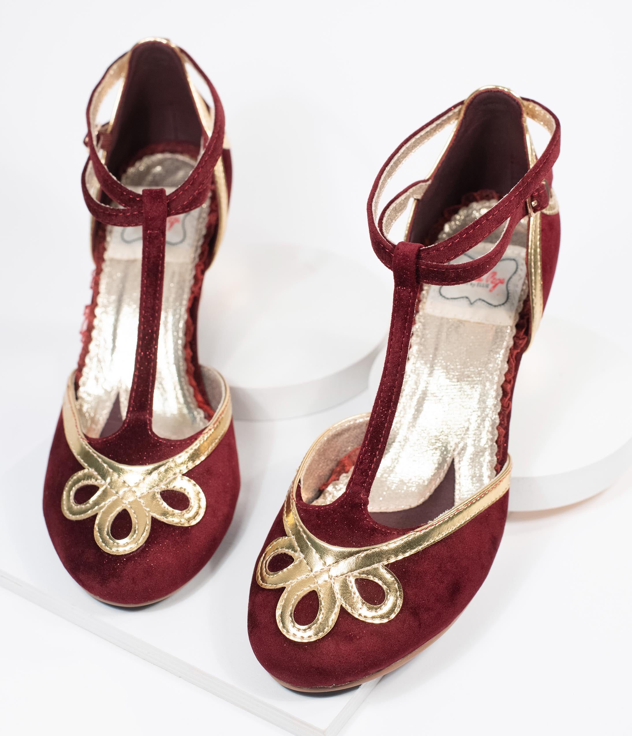 1930s Shoes History Bettie Page Burgundy Suede  Metallic Gold Lois T-Strap Heels $82.00 AT vintagedancer.com
