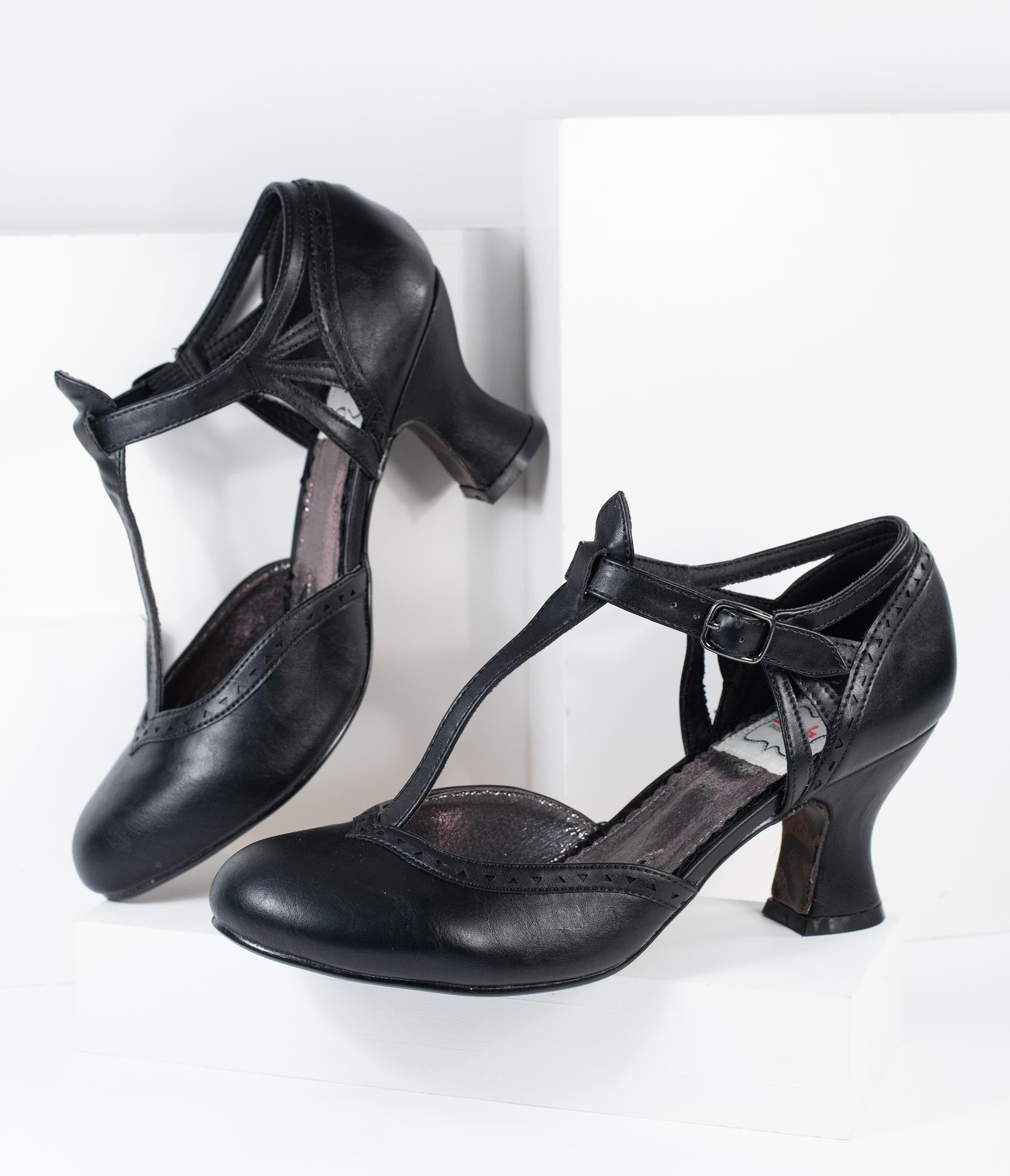 Women's 1920s Shoe Styles and History Bettie Page Black Leatherette Marie T-Strap Heels $88.00 AT vintagedancer.com