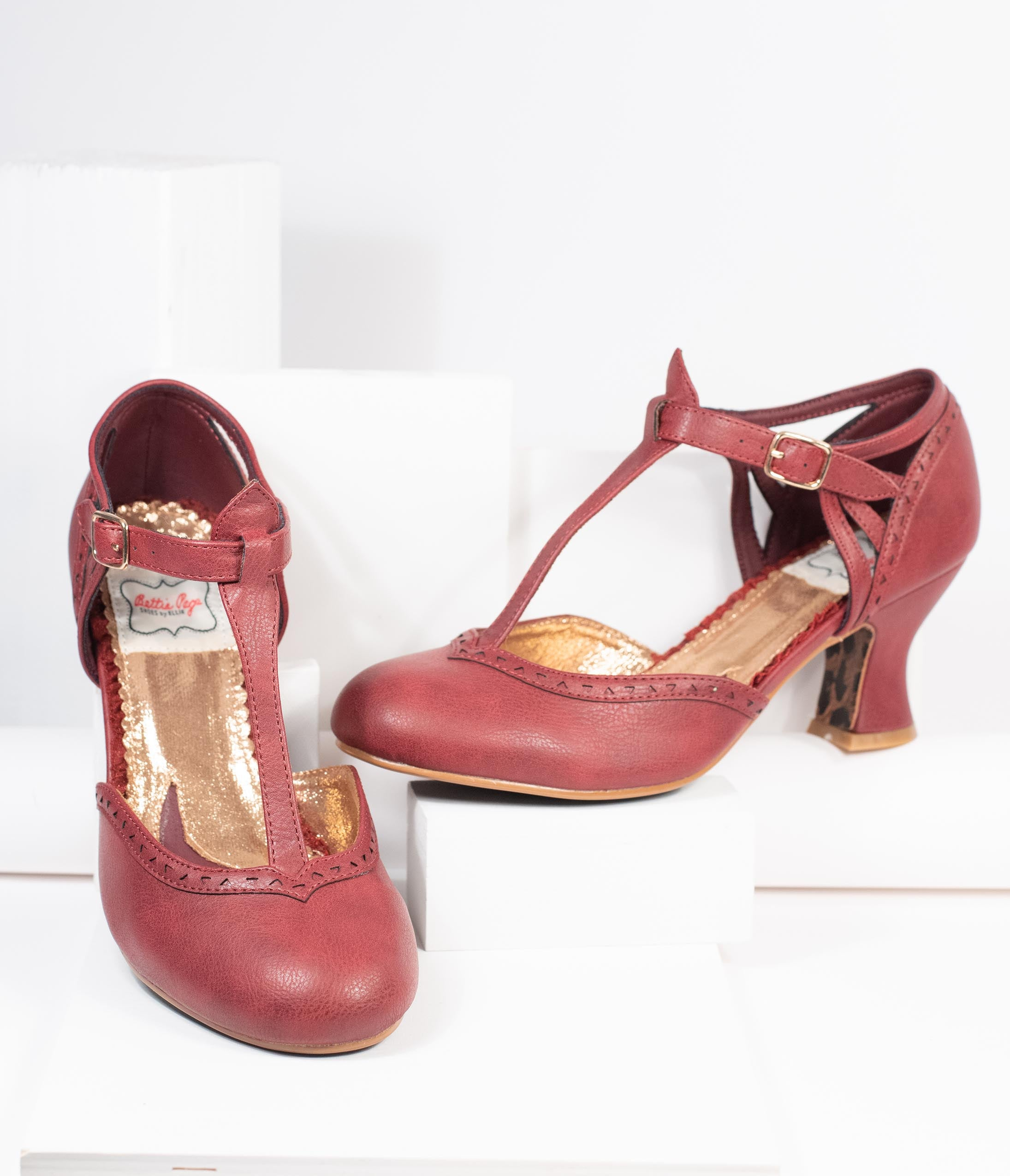 Vintage Heels, Retro Heels, Pumps, Shoes Bettie Page Burgundy Leatherette Marie T-Strap Heels $88.00 AT vintagedancer.com