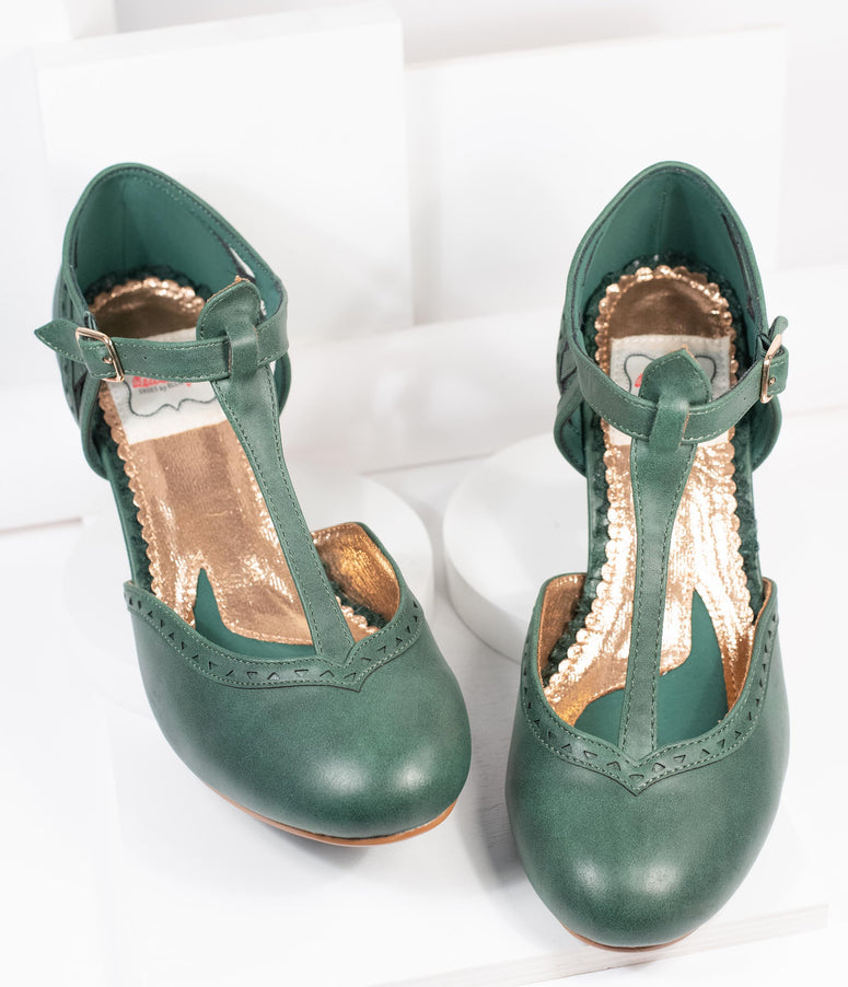Bettie Page Green Leatherette Marie T-Strap Heels