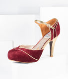 Bettie Page Burgundy Suede & Gold Ruby Heels