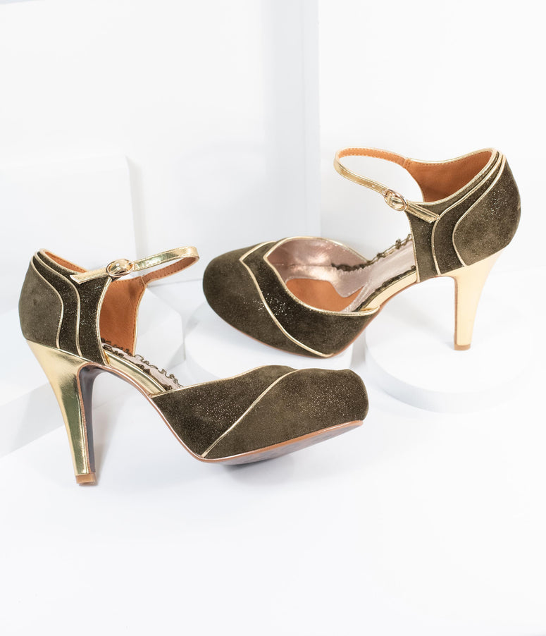 Bettie Page Olive Green Suede & Gold Ruby Heels