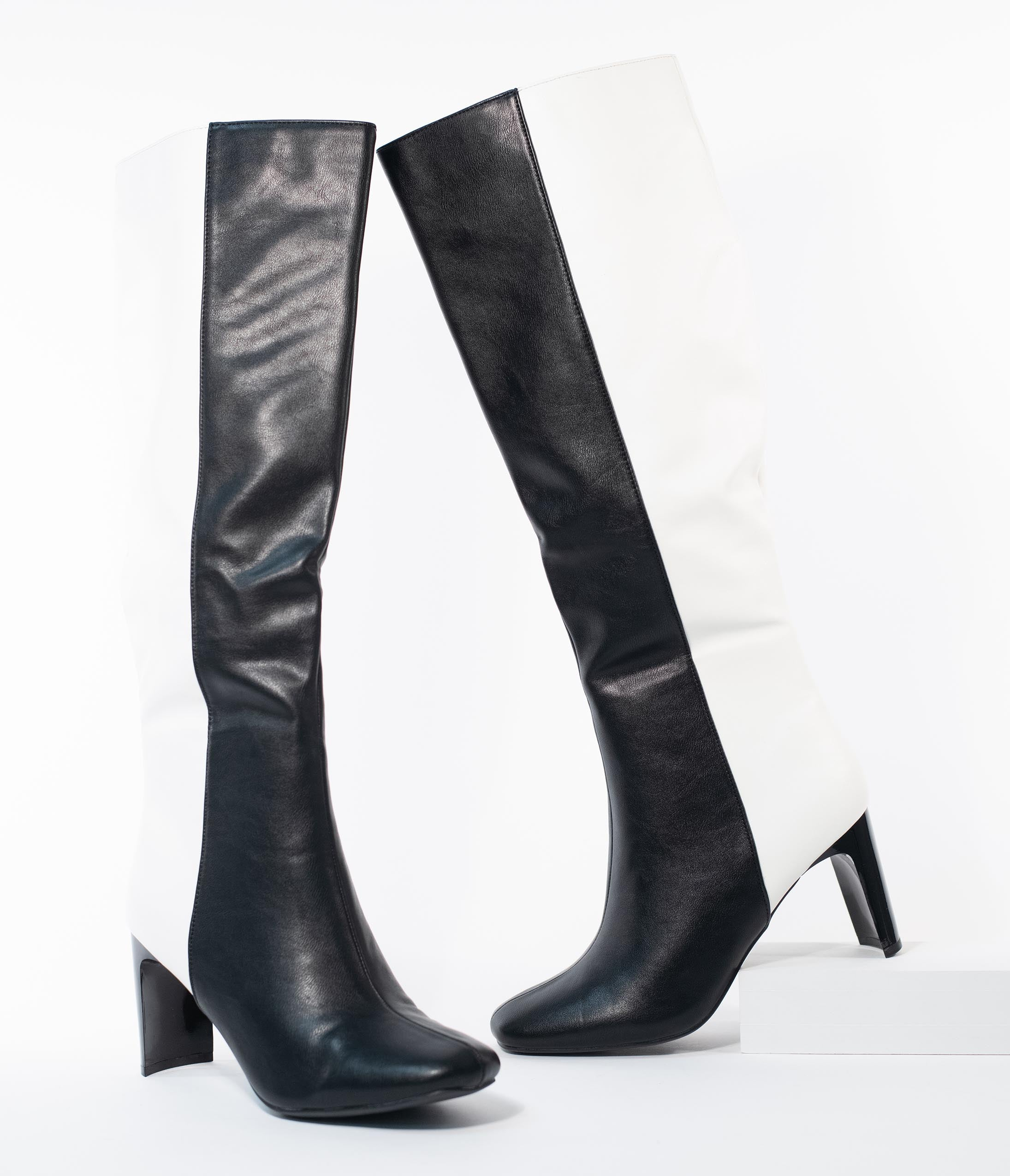 Vintage Boots- Buy Winter Retro Boots Black  White Color Block Leatherette Knee High Boots $72.00 AT vintagedancer.com