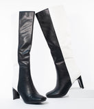 Black & White Color Block Leatherette Knee High Boots