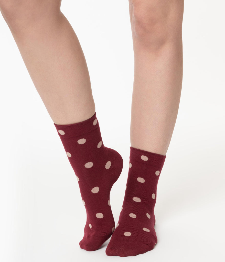 Burgundy & Beige Polka Dot Crew Socks