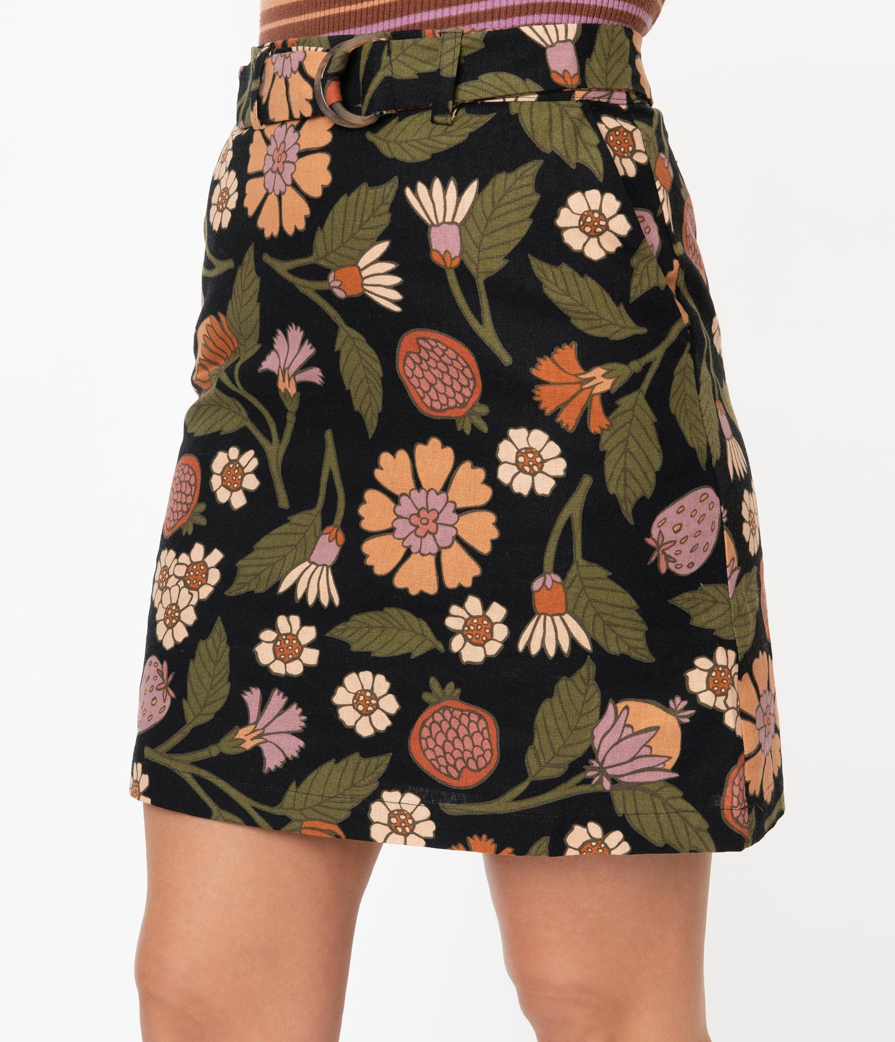 1960s Style Black Fruits & Floral Mini Skirt