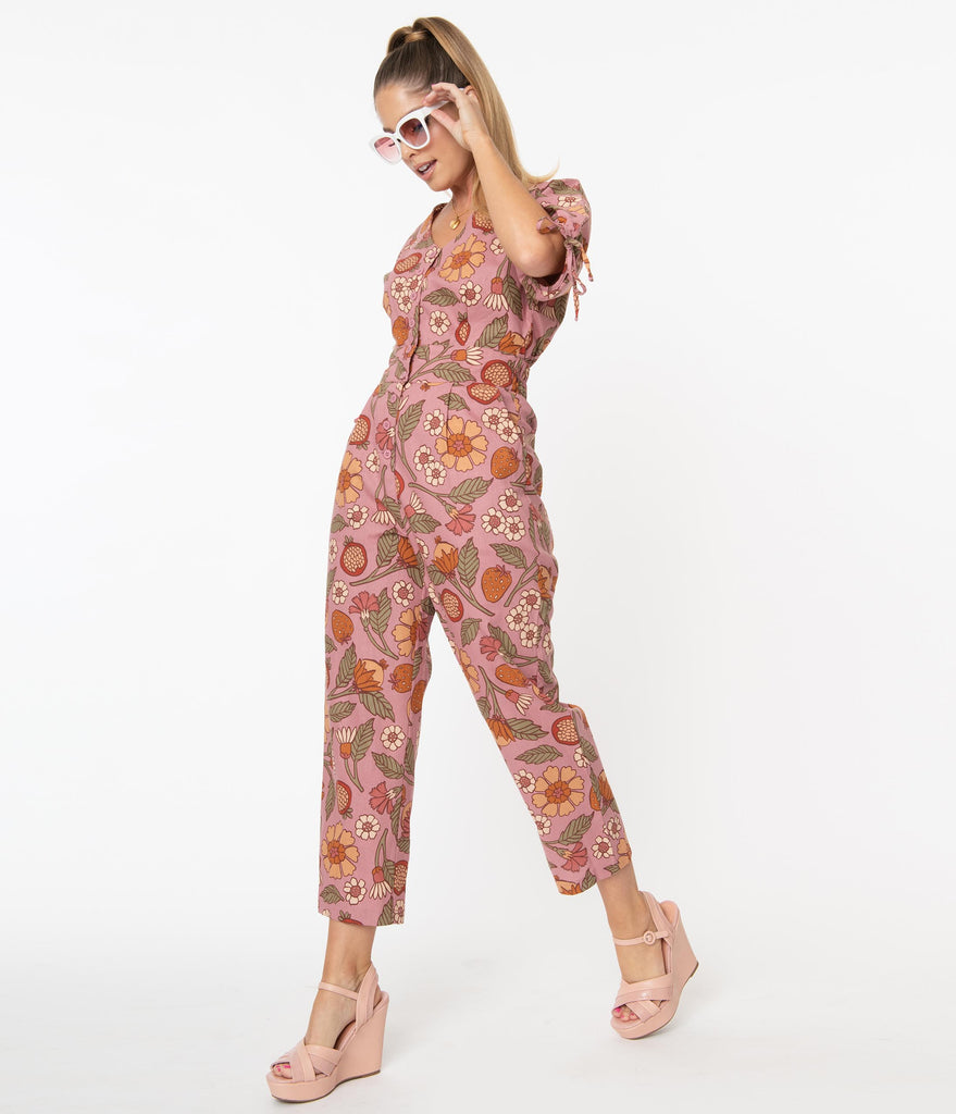 1970s Pink Fruits & Floral Print Cropped Jumpsuit