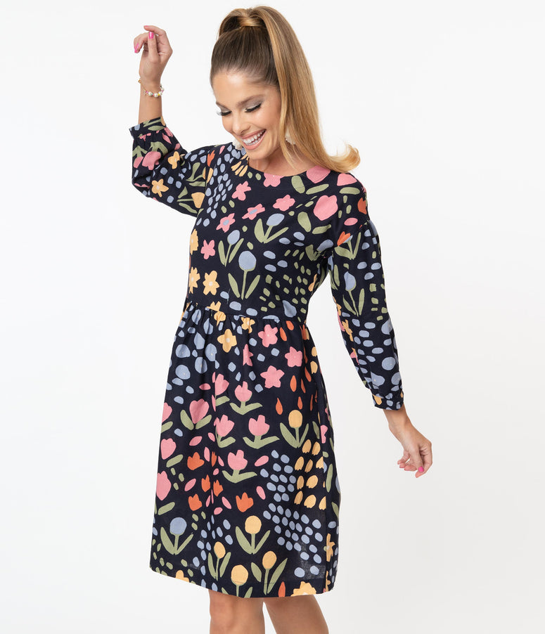 Navy & Multicolor Floral Print Paige Smock Dress