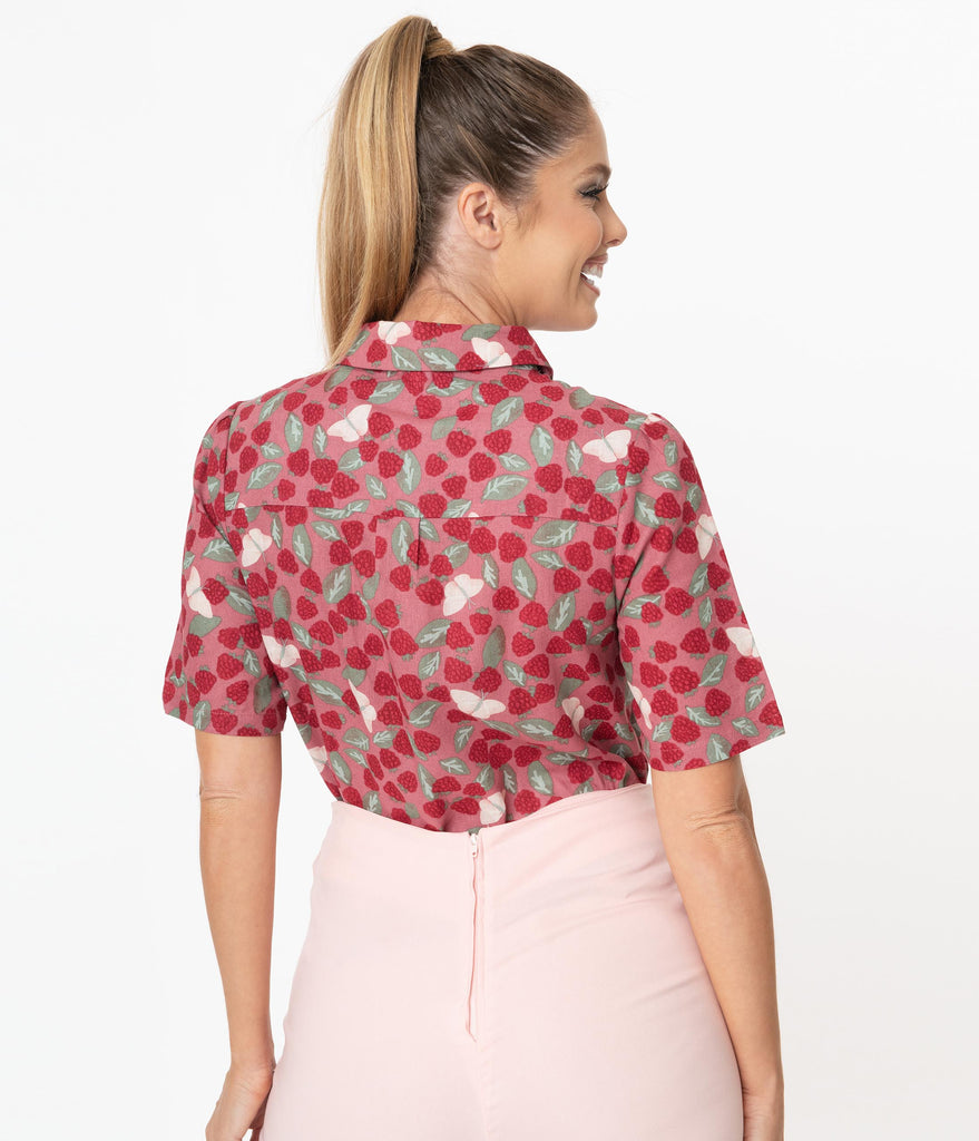 Pink Raspberry & Butterfly Print Casual Top