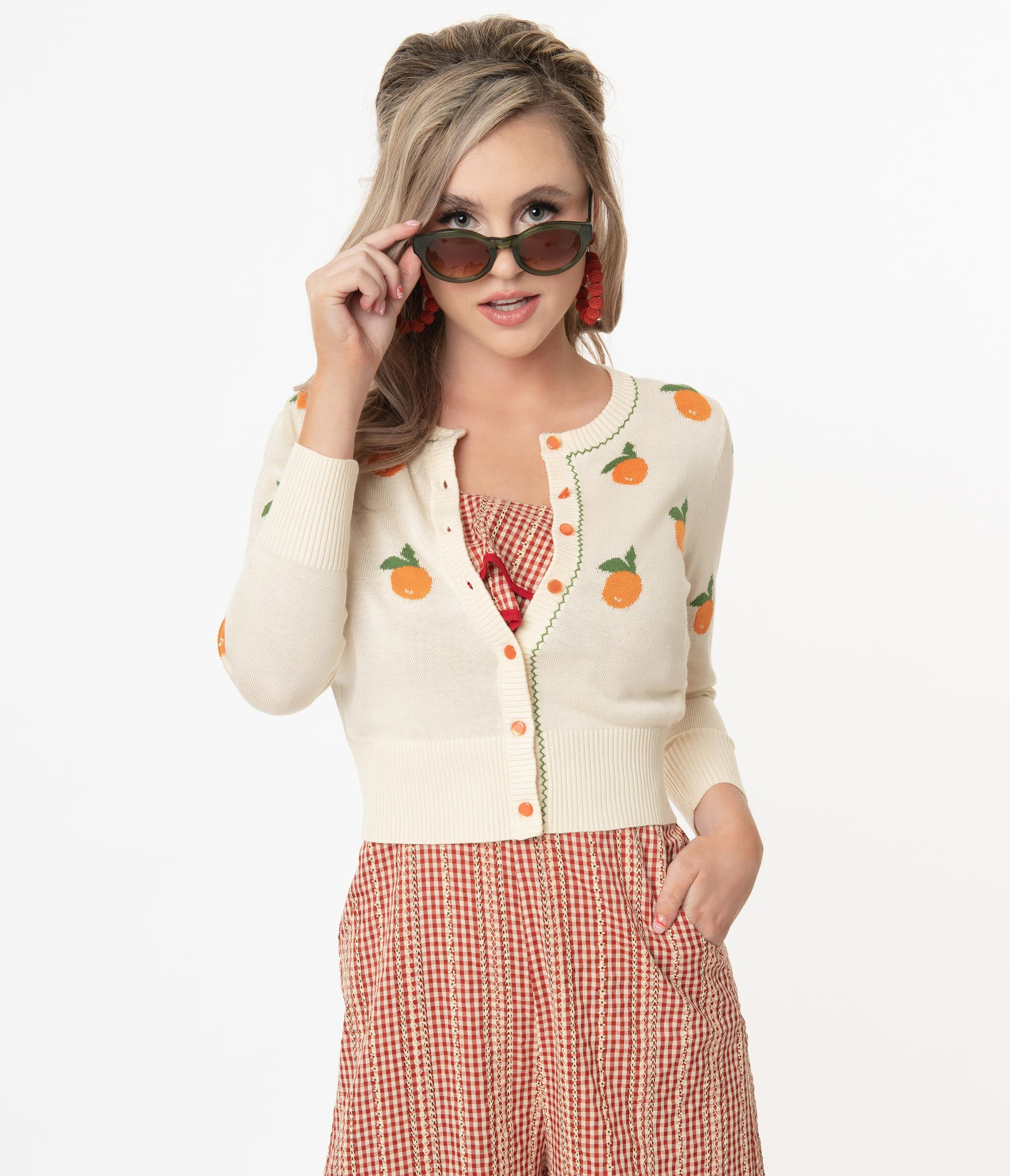 Vintage Sweaters & Cardigans: 1940s, 1950s, 1960s Voodoo Vixen Cream  Oranges Knit Cardigan $62.00 AT vintagedancer.com