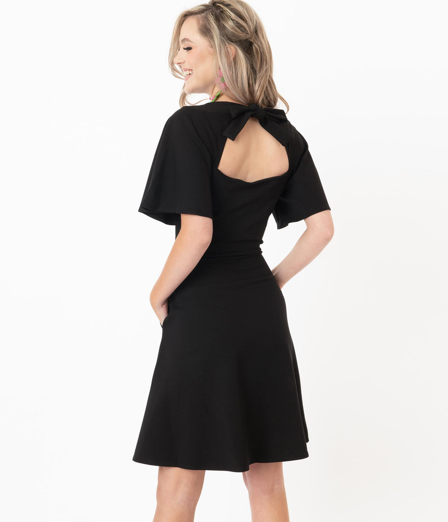 Voodoo Vixen Black Butterfly Sleeve Felicity Flare Dress