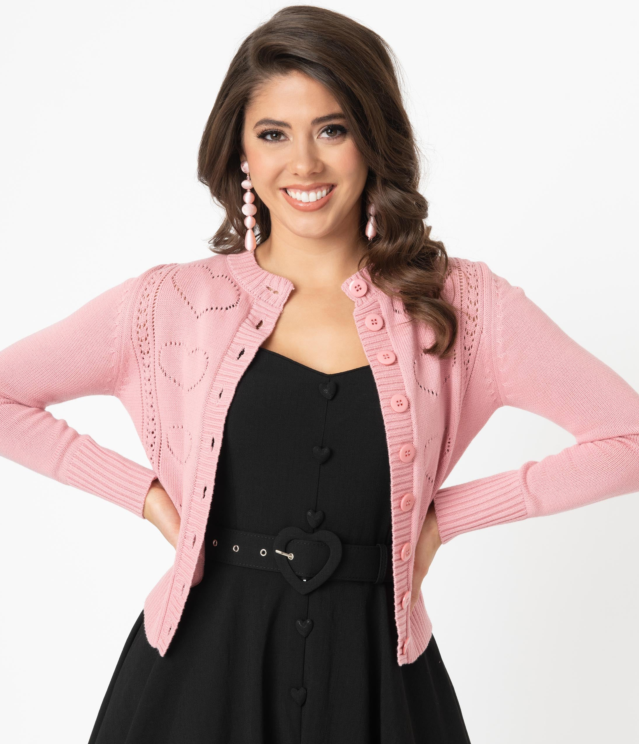 1950s Sweaters, 50s Cardigans, 50s Jumpers Voodoo Vixen 1950S Pink Perforated Heart Etta Cardigan $58.00 AT vintagedancer.com