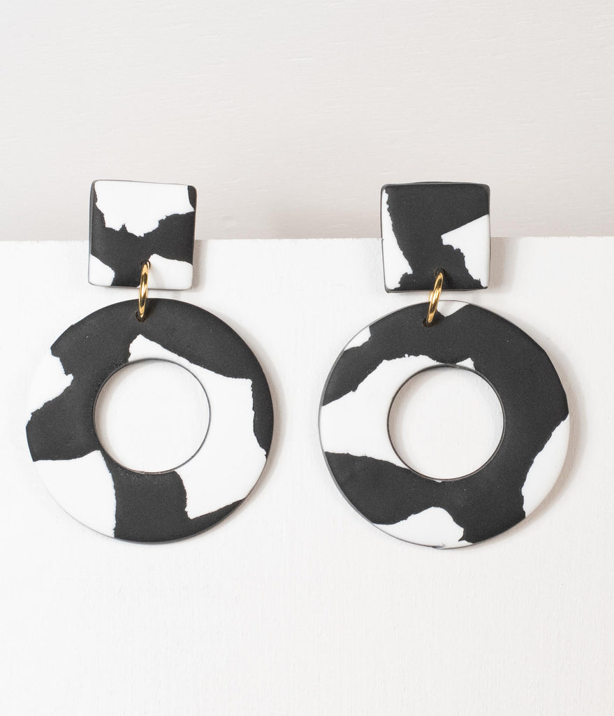 White & Black Marble Circle Drop Earrings