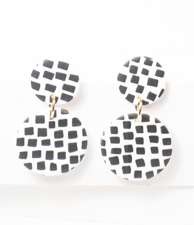 White & Black Dotted Circle Drop Earrings