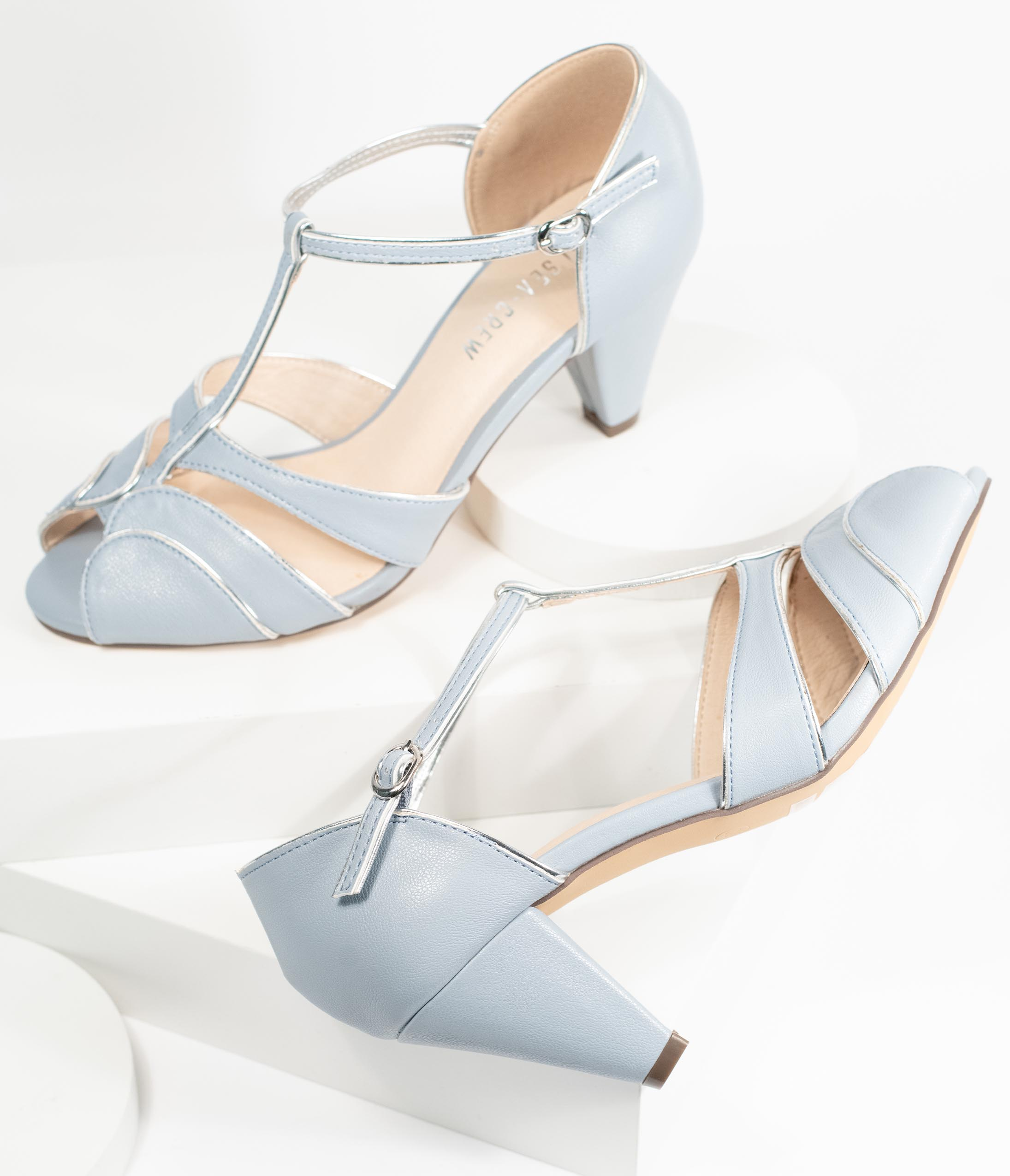1930s Style Clothing and Fashion Chelsea Crew Baby Blue T-Strap Peep Toe Penelope Heels $82.00 AT vintagedancer.com