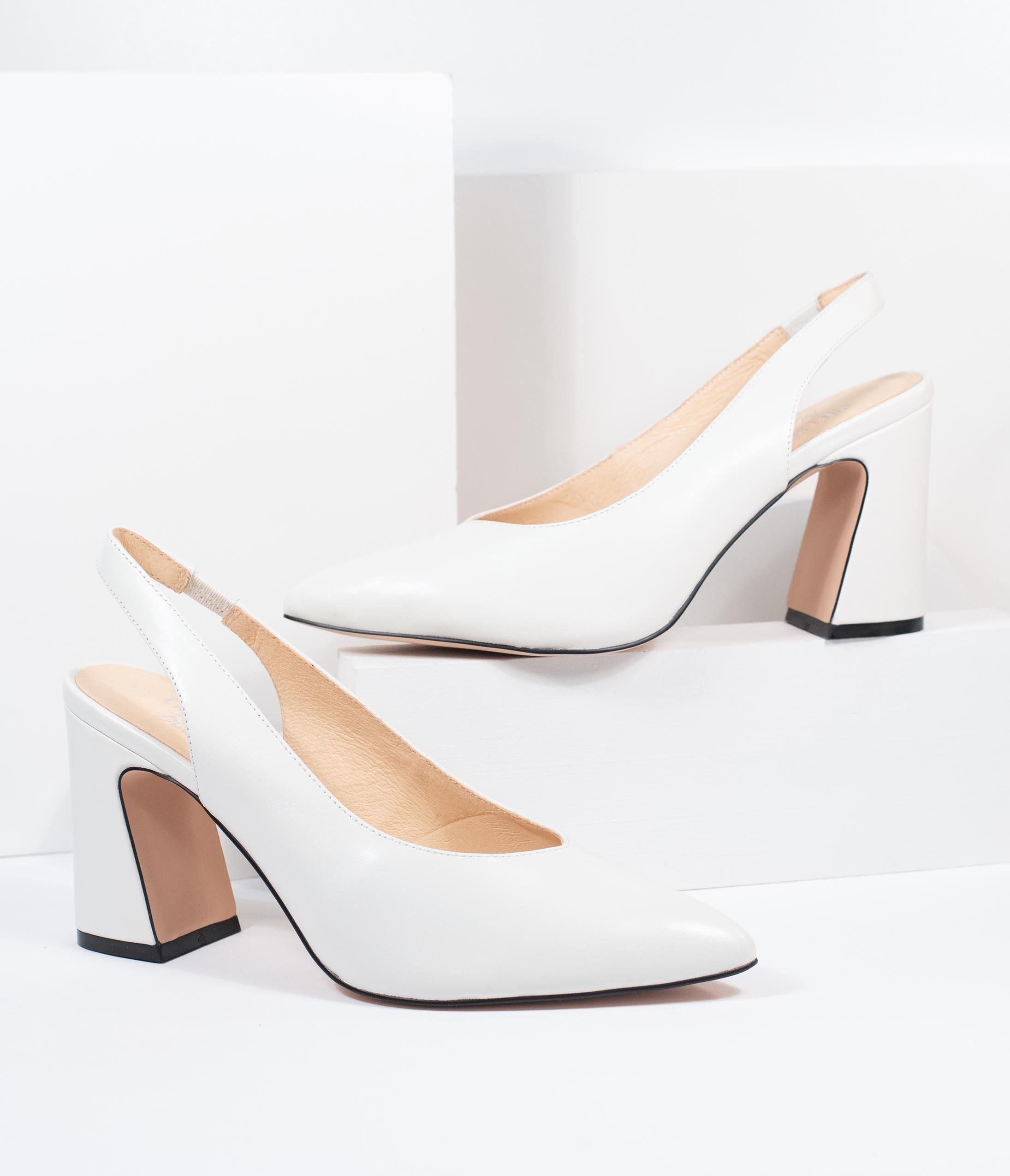 1980s Clothing, Fashion | 80s Style Clothes Chelsea Crew White Leather Slingback Kenzie Heels $96.00 AT vintagedancer.com