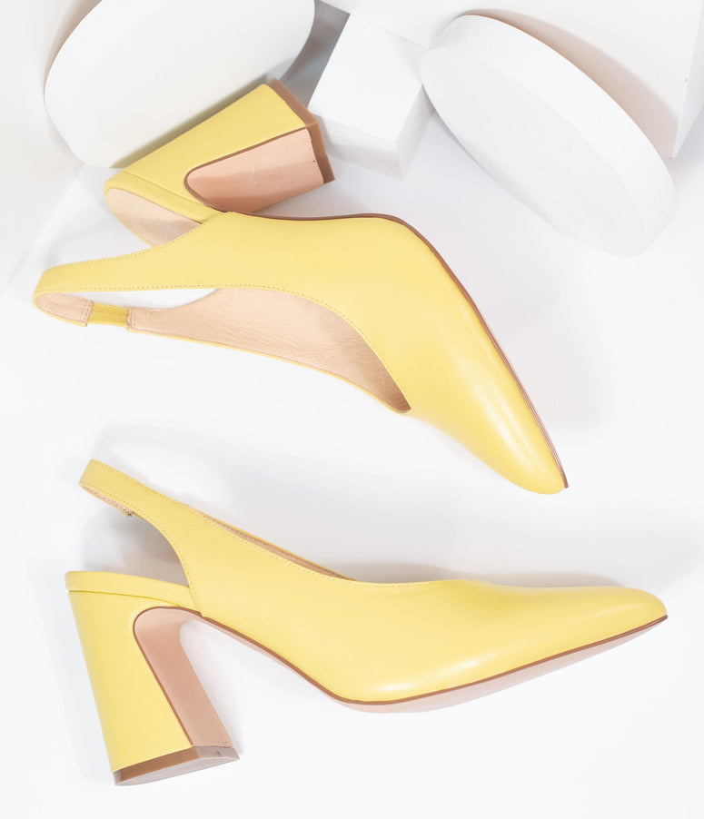Chelsea Crew Yellow Leather Slingback Kenzie Heels