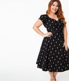 Unique Vintage Plus Size Black & Pink Flamingo Print Ohara Swing Dress