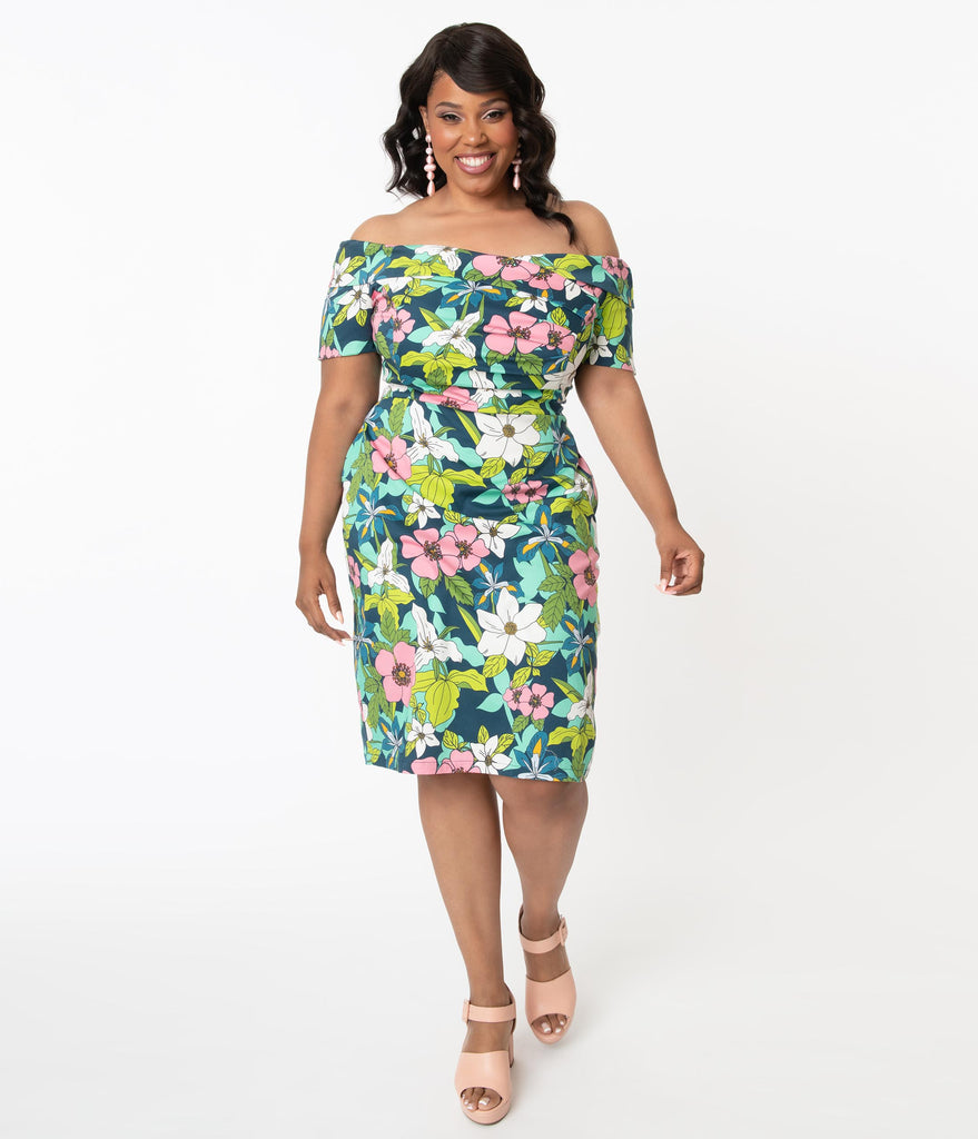 Plus Size Retro Blue & Pink Provincial Flowers Tyra Pencil Dress