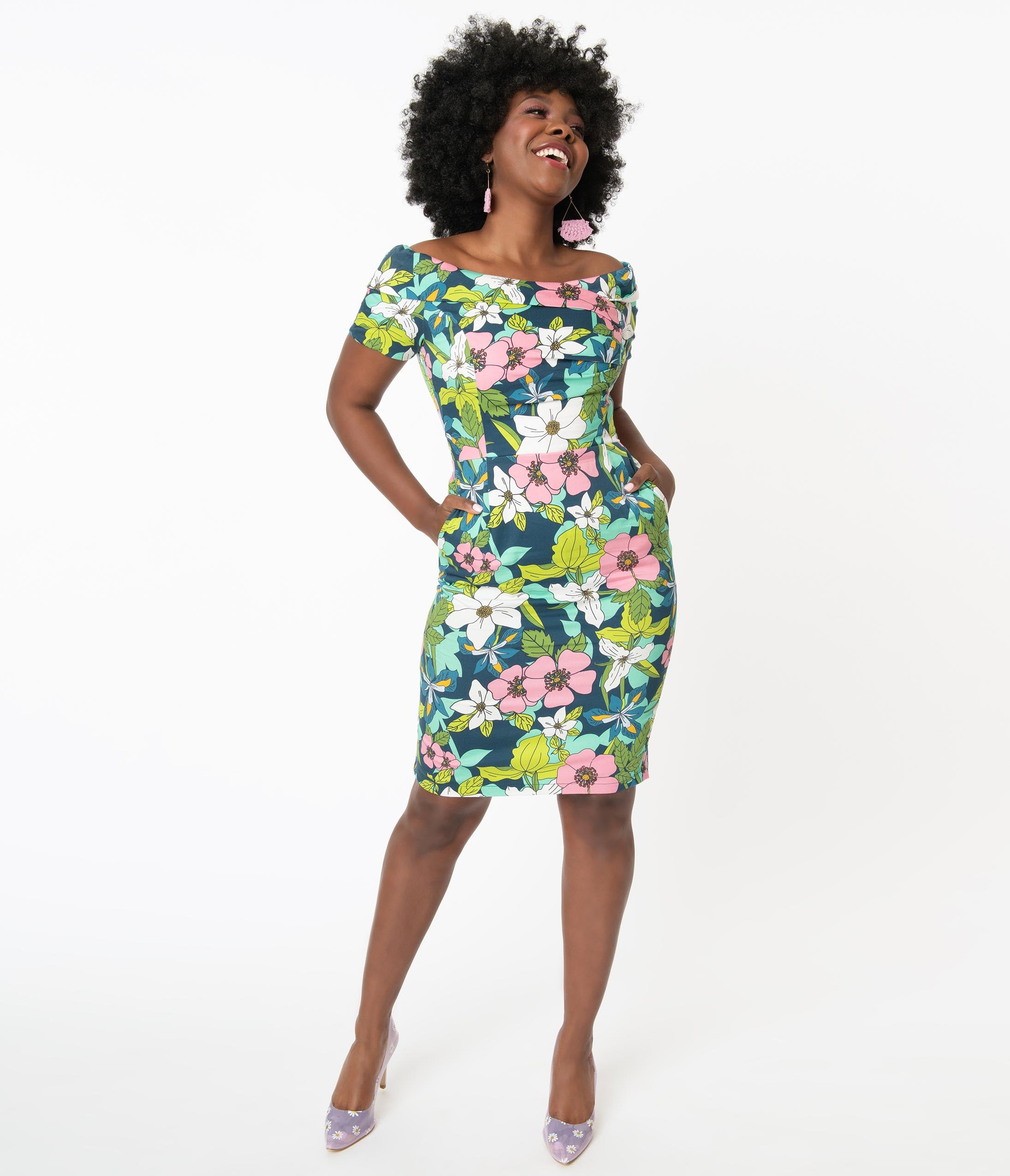 Retro Tiki Dress – Tropical, Hawaiian Dresses Retro Blue  Pink Provincial Flowers Tyra Pencil Dress $100.00 AT vintagedancer.com